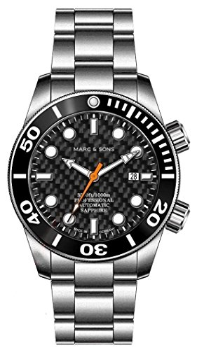 Marc & Sons 1000m automatico Diver orologio, Vetro Zaffiro, Elio valvola in ceramica, lunetta, Diver Carbon