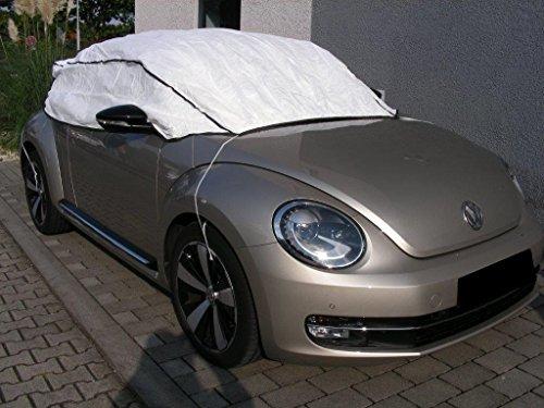 Kley & Partner Autoabdeckung Halbgarage Plane atmungsaktiv extrem leicht kompatibel mit Volkswagen VW New Beetle ab 2011 in weiß Exclusiv aus Tyvek mit Lagerbeutel