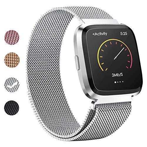 BeYself Cinturino per Fitbit Versa, Cinturino in Metallo con Blocco Magnetico Unico per Fitbit Versa/Versa Lite Edition (S/Argento)