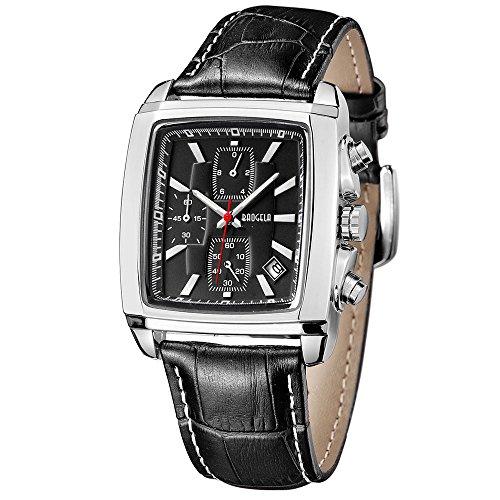 BAOGELA Orologio da uomo vintage rettangolare con cinturino in pelle nero e quadrante quadrato all black, impermeabile cronografo e date