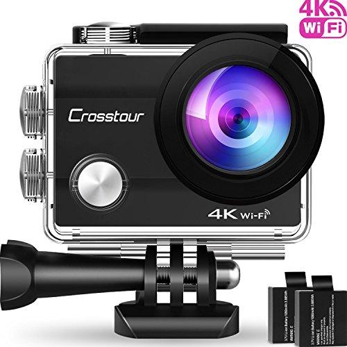 Action Cam 4K Unterwasserkamera Action Kamera WiFi Crosstour Wasserdicht Sports Cam Ultra Full HD 2' LCD 170°Ultra Weitwinkel 30M Helmkamera mit 2 Batterien und kostenlose Accessoires