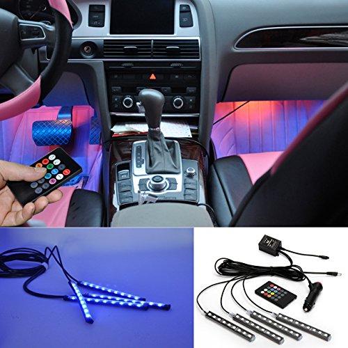 BRTLX Car Interior Lights Atmosphere Kit decorativo LED RGB Strip Light 12V 4 x 9 LED con Sound...