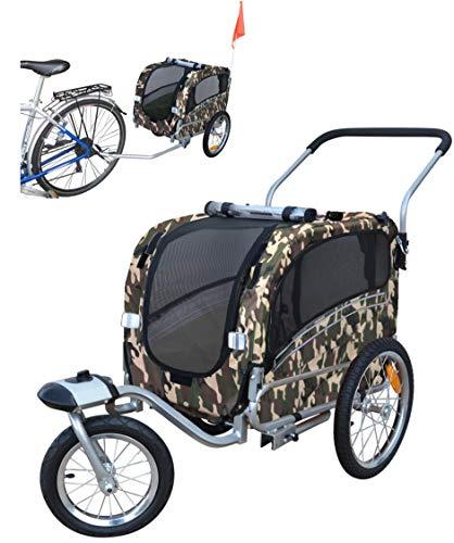 POLIRONESHOP ARGO rimorchio e passeggino per trasporto cani cane animali carrello carrellino trasportino rimorchi da bici bicicletta jogger carrozzina dog portacani portacane porta (MIMETICO, SMALL)