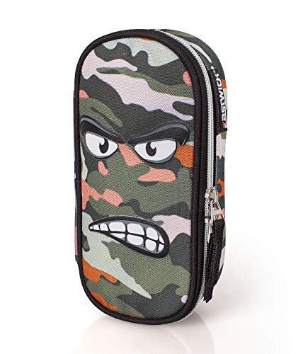 Astuccio Ovale Con Zip Deluxe Expression 'angry' Camouflage Cm. 21x10x5