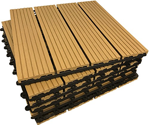 36piastrelle a incastro per pavimenti, in legno composito-teak a scatto per patio, giardino,...