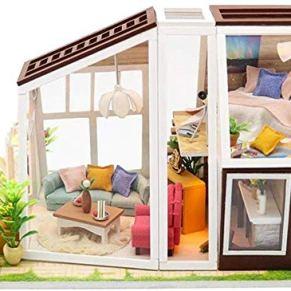 Skwenp Miniatura 3D Dollhouse Kit for niños y Adultos Bricolaje casa de la cabaña Bricolaje Mini Kits de muñecas Hecha a Mano de Madera Casa Modelo Innovador Puzzle montado Casa del Juguete