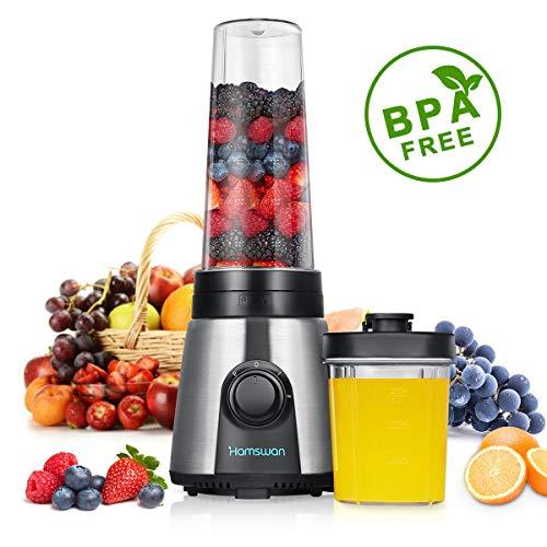 HAMSWAN KP-1506 Smoothie Mixer,Mini tragbare Mixer,tragbare Smoothie Maker,Suppe pürieren Gemüse mit 2 Reiseflaschen MEHRWEG