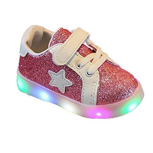 Elecenty Regalo Bambino Scarpe LED Stella Sportive Bambini Ragazzi Ragazza Scarpe con Luce Luminose Sneakers (Size:25, Rosa)