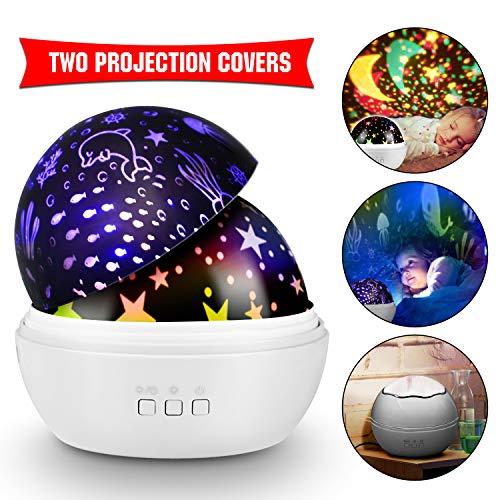 KKTICK Stelle Lampada, Proiettore Stelle Luce Notturna per Bambini con 4 Colori Lampadine LED 3...