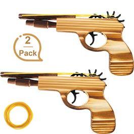 2 Pezzi Giocattolo in Gomma Giocattolo Pistola a Mano in Legno e Giocattolo Fatto a Mano 50 Gomme pe