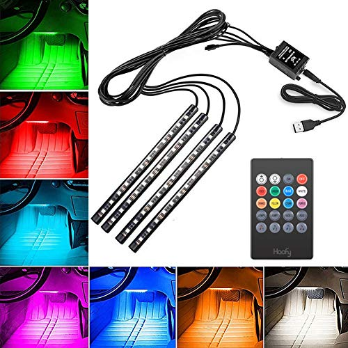 Haofy Auto LED Strip Light, 4 pezzi 48 LED DC 12 V Multi Color Music Car Ambiente Lights Under Dash...