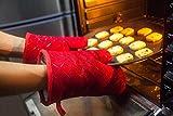 Aicok Ofenhandschuhe, Hitzebeständige Handschuhe bis zu 240℃, Rot, 1 Paar