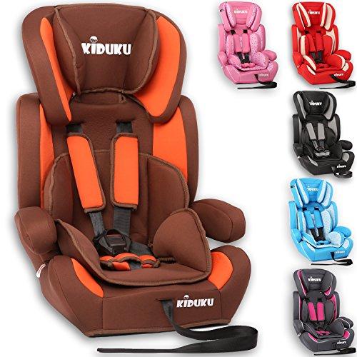KIDUKU Seggiolino auto, cresce con il bambino, sedile, universale, approvato con la normativa ECE R44 / 04, 9-36 kg (1-12 anni), gruppo 1+2+3 (Marrone/Arancione)