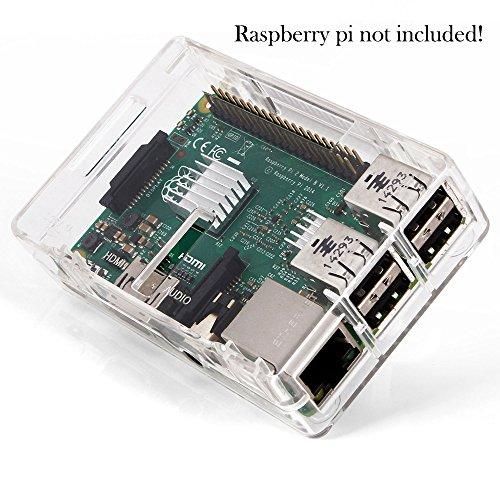51Wjt%2BwfgtL - Aukru Nuevo 3-EN-1 Kit de Raspberry Pi 2 Modelo B/B + Transparente Caja + 5v 2000mA alimentación + 3 Conjunto del disipador de Calor