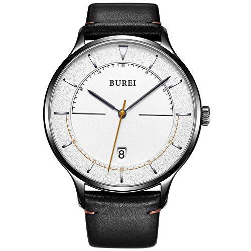 Burei Unisex Ultra Dünn minimalistischen Uhren mit großen weiß Face Kalender Mineral Glas Kalbsleder Leder Band (weiß)