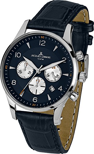 Jacques Lemans Herren-Armbanduhr XL london classic Chronograph Quarz Leder 1-1654C