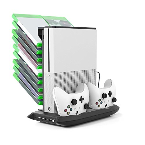 Microware Xbox One S Cooling Vertical Stand + Dual Controller Charging Station + Stand and Game Holder Stand with Cooling Fans + 4 USB Ports For Microsoft Xbox One S Console