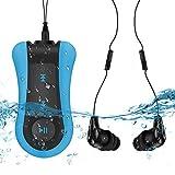 Mp3 Acuatico Natacion 8GB, S12 Reproductor Mp3 Subacuaticos IPx8 con Auricualares Impremeable para Nadar Correr ( Negro+ Azul)