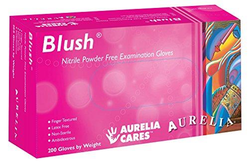 Supermax 78886Aurelia Blush Guanti in nitrile, senza polvere, Piccoli, Rosa, Confezione da 200