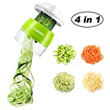 AJOXEL Vegetable Spiralizer Handheld, 4 In 1 Vegetable Slicer Vegetable Chopper Zucchini Spiralizer Kitchen Gadgets for Cooking, Zucchini Pasta,Courgette Spaghetti, Sweet Potato,Cucumber Carrot