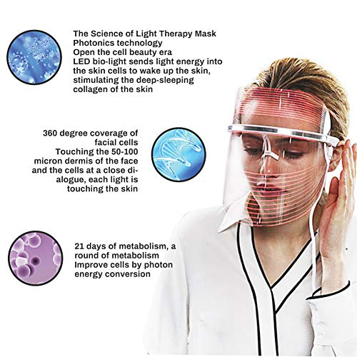 LED masque facial de traitement, Acne traitement Masque, Anti-âge masque, Masque de Luminothérapie LED Photon Therapy, 3 couleurs faciales t... 27