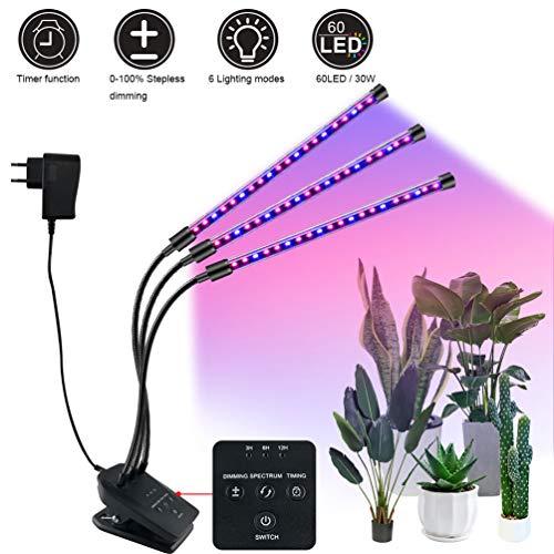 GIANOLUC Lampada Piante Coltivazione, 60 LED 30W Luci per Crescita Grow Light, 6 Luminosità, Collo...