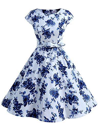 Dressystar Damen Vintage 50er Cap Sleeves Dot Einfarbig Rockabilly Swing Kleider Blaue und Weiße Blumen L