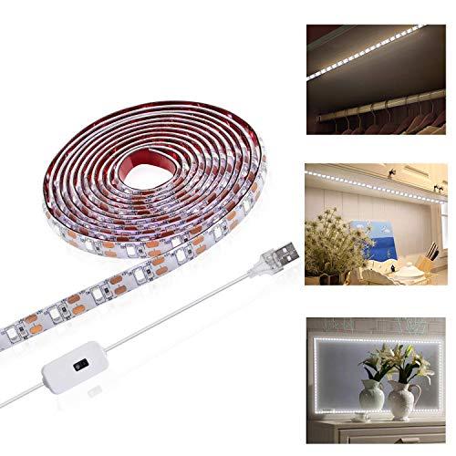 Viugreum Striscia LED 2M USB,Striscia di luci a LED, per armadi nastri a Led dimmerabile...