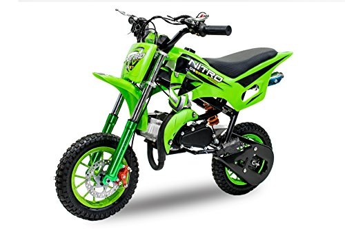 Dirt Bike DS67 de 49 cc, con ruedas de 10 pulgadas, color verde