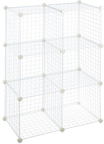 AmazonBasics - Scaffalatura in filo, Sei cubi - Bianco