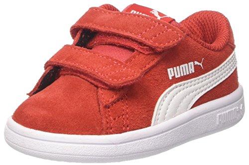 Puma Smash V2 SD V Inf', Scarpe da Ginnastica Basse Unisex-Bambini, Rosso (High Risk Red White), 20 EU