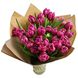 Clare Florist 30 Pink Tulips Bouquet with Vase - Beautiful Fresh Flowers Hand Arranged for a Fanastic Floral Surprise