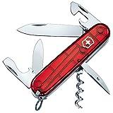 Victorinox Spartan Taschenmesser, 12 Funktionen, Klinge, Korkenzieher, Dosenöffner, rot transparent
