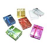 NBEADS 24PCS Cuboide lucido gioielli scatole regalo con fiocco, scatole di cartone carta spugne per collana con ciondolo, colore misto, 8x 5x 3cm