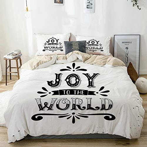 HUAYEXI Color Crema Set Biancheria da Letto,Joy Joy to The World Stampa preventivo,1 Copripiumino...