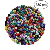 BESTOMZ 1350pcs 3mm Perline Vetro Perline per Bigiotteria Perline Colorate Rotonde Miste, Tinto, 3mm in Diametro