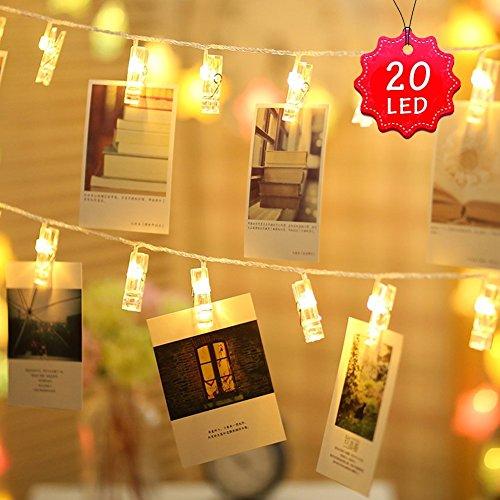Clip LED luci a stringa - 20 LED Photo Peg Clip 2,2M Immagini appese Natale Star Light Birthday...