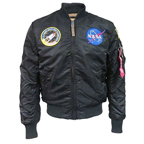 Alpha Industries MA- 1 VF NASA Bomber, Nero (Black 03), M Uomo
