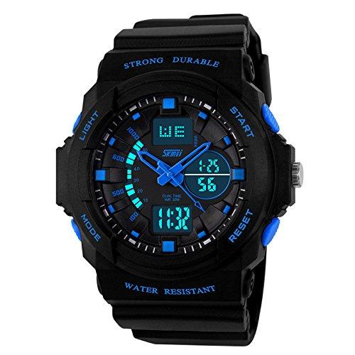Skmei Analogue-Digital Black Dial Men's Watch - 5590-blu