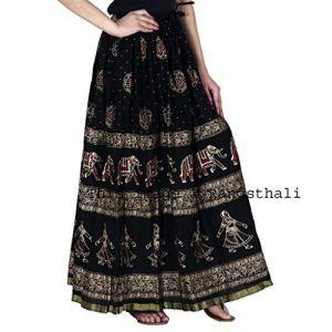 Rangsthali Women's Cotton Skirt (SKRT-053, Black) 12  Rangsthali Women's Cotton Skirt (SKRT-053, Black) 51XSSrcjV 2BL