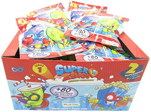 MAGICBOX SUPERZINGS Box Completo 30 Bustine 2 Personaggi Ognuna (1 Eroe + 1 Nemico) 60 Personaggi TOTALI Super Zings Originale Rivals of Kaboom Serie 1