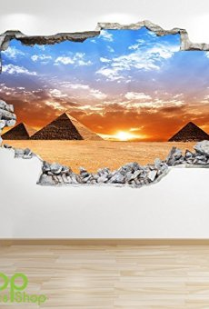 1Stop Graphics Shop Pirámide Adhesivo Pared 3D Aspecto – Salón Dormitorio Egipto Ciudad Adhesivo Pared Z86