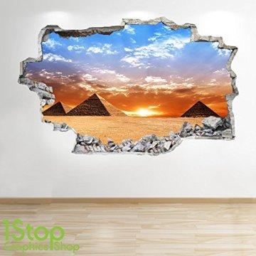 1Stop Graphics Shop Pirámide Adhesivo Pared 3D Aspecto - Salón Dormitorio Egipto Ciudad Adhesivo Pared Z86 3