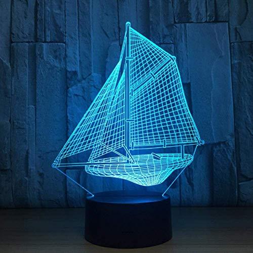 Novità Luci Da Notte 3D Per Barche A Vela Lampada Da Tavolo A Led Touch Desk 7 Colori Che Cambiano...