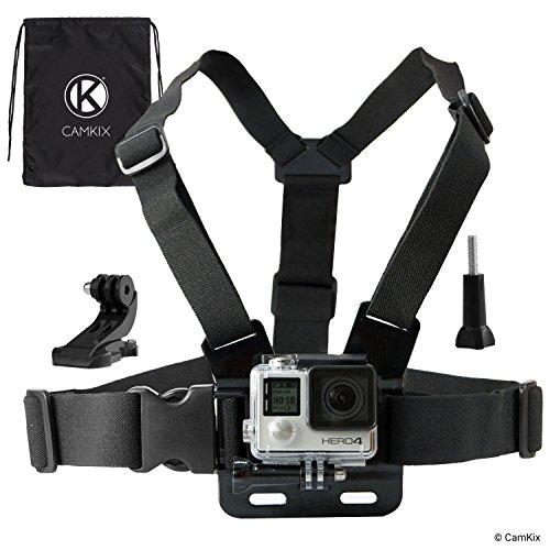 CamKix Imbracatura compatibile con GoPro / Imbracatura torso regolabile compatibile con GoPro 6, 5, 4, 3, 2, 1 Hero Camera - 1 Gancio a J, 1 Vite a Galletto, 1 Borsa con chiusura a cordoncino CamKix inclusi