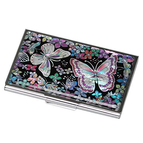 Delgada Billetera de Madreperla para Mujer en Metal de Acero Inoxidable Grabado para Tarjetas de Identidad Tarjetas de Crédito Dinero en Efectivo con Diseño de Mariposas