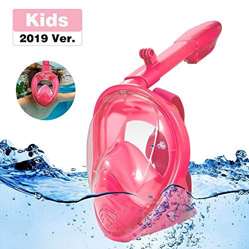 Homful Maschera Subacquea 180 ° Vista panoramica, Pieno facciale Design,Anti-Appannamento Anti fuoriuscita con Cinghie Regolabili. con più Snorkeling Tubo per Kid