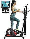 Sportstech CX608 Bicicleta elíptica Cross Trainer con aplicación para smartphone, Bluetooth, cinturón pulsómetro compatible, soporte para tablet, ergómetro, 12 kg inercia, sistema de manivela 3 partes