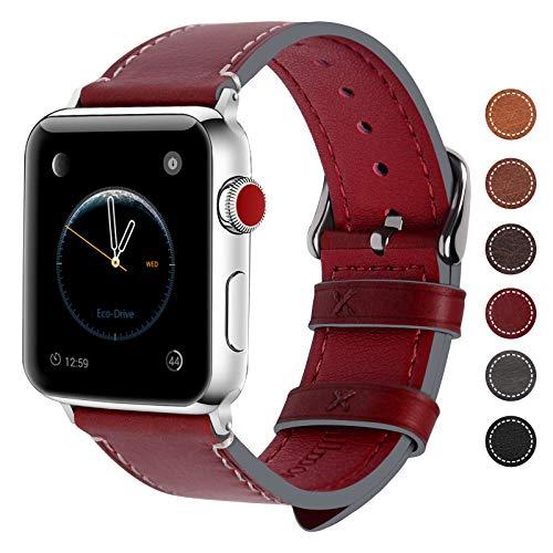 Fullmosa Compatibile Cinturino per Apple Watch 38mm/40mm e 42mm/44mm, 8 Colori Wax Cinturino per iwatch Pelle, per Apple Watch Series 5,4,3,2,1, Uomo e Donna,42mm Rosso Scuro + Fibbia Argento