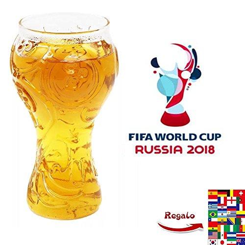 Bicchiere con motivo: mondiali Russia 2018 FIFA, in vetro borosilicato trasparente, per birra, whisky, vino, succo e acqua, ideale per una festa di tifosi